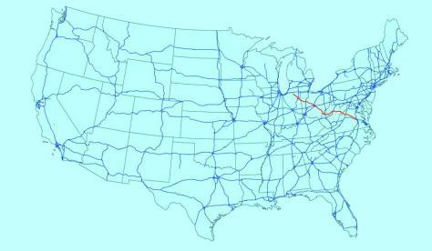 Bản đồ Route 33. Đường màu đỏ.