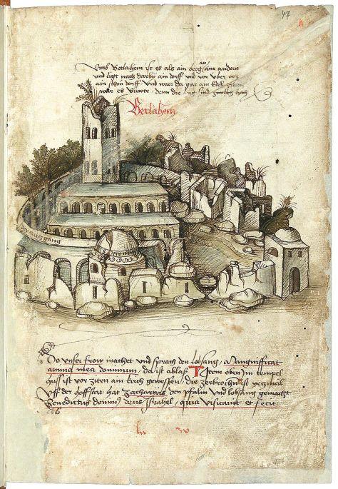 Vương cung thánh đường (Nhà thờ Giáng Sinh) và đất đai được mô tả trong một tác phẩm xuất bản năm 1487 (Konrad von Grünenberg – Badische Landesbibliothek).