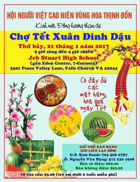Tờ quảng cáo Chợ Tết của Hội Người Việt Cao Niên.