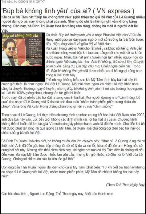 Hình ảnh tờ báo hàng đầu Việt Nam đưa tin khi Mỹ Tâm vi phạm tác quyền ca khúc 'Búp bê không tình yêu'