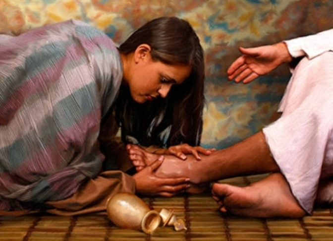 Mary Magdalene xức dầu thơm cho Jesus