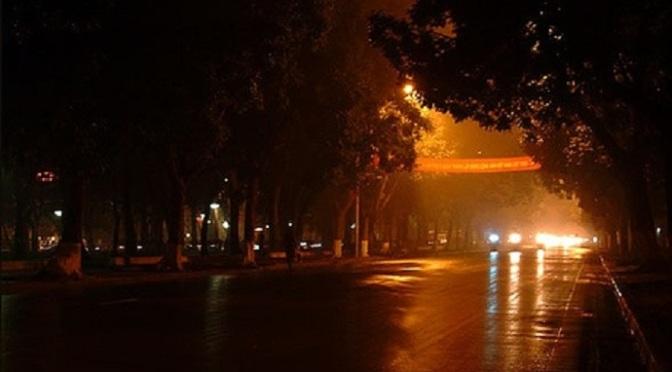 Phố, đêm, mưa