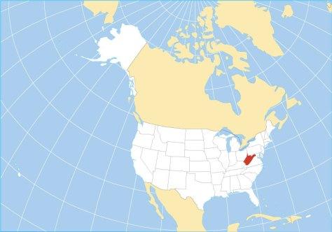 Vị trí bang West Virginia, Mỹ